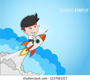 Business Startup Concept, Businessman on rockets launch into the blue sky
