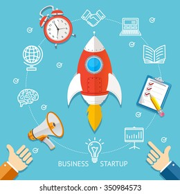 Business Startup Concept With The Rocket. Flat Design. Vector illustration