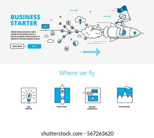 Business startup concept with rocket launch illustration. Linear infographic style banners for website.