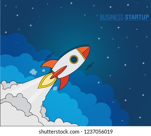 Business Startup Concept, Rockets launch into the night sky