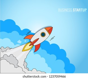 Business Startup Concept, Rockets launch into the blue sky