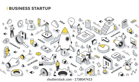 Business startup concept. Steps to start a new business: do research, create a plan, get the team ready, schedule actions, and promote your business. Isometric illustration
