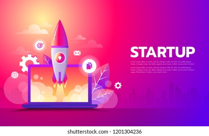 Business Startup launching product with rocket concept. Template and Background.
