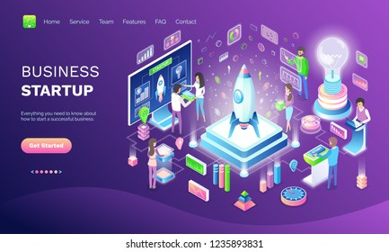 Business startup online web banner, invention. Space industry and rocket, eco light and digital technologies, ideas and projects vector illustration