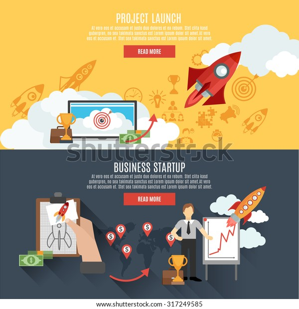 Business startup project launch two horizontal banners webpage interactive design with rocket flat abstract isolated vector illustration