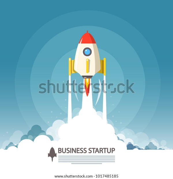 Business Startup Symbol. Vector Flat Design Rocket Launch.
