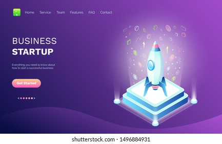 Business startup vector, pedestal with rocket with icons and currency dollar money coins and infographics, project on work, purple color. Website or webpage template, landing page flat style