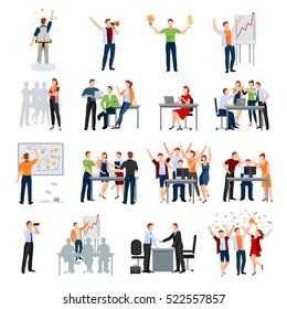 Business startup work moments flat icons collection with meeting planning presentation brainstorming teamwork and success isolated vector illustration