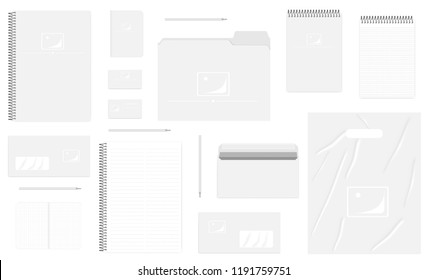 Business stationery isolated on white background, mock up set. A4, A5, B7, DL sizes. Corporate identity products template