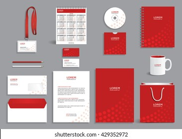 Business stationery set template, corporate identity design mock-up with red circles pattern