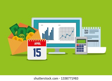 business statistics bar with dataphone and invoice