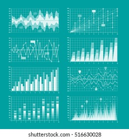 Business statistics, charts and graphs infographic elements vector illustration