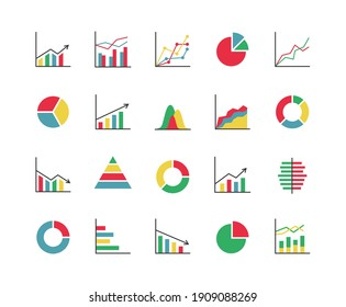 Business statistics colorful icon set. Collection of 20 abstract graphs, charts, diagrams... Infographics, data analysis, stats tools. Vector illustration.