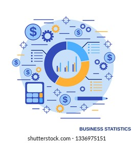Business statistics, financial report flat design style vector concept illustration