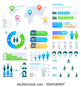 Business statistics graph, demographics population chart, people modern infographic vector elements