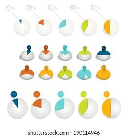 Business statistics pie charts. 10, 20, 30,40, 50 percent.  Vector infographic elements.