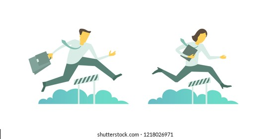 Business steeplechase man woman jumps overcoming the barrier running obstacles