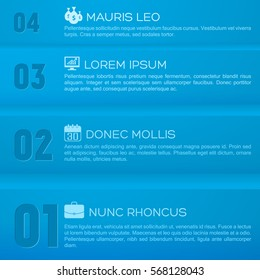 Business step infographics with horizontal blue banners text four options and icons vector illustration