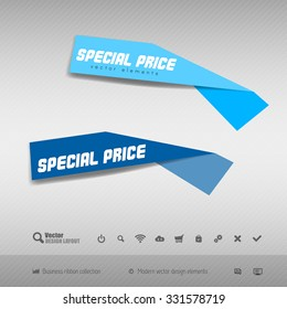 Business stickers on the gray background. Vector design elements.