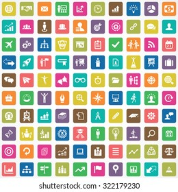 business strategy 100 icons universal set for web and mobile