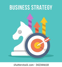 Business strategy. Chess knight, target, arrow, growth arrows icons set. Modern flat design concept for web banners, web sites, printed materials, infographics. Creative colorful vector illustration