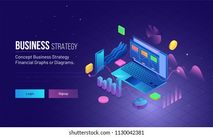 Business Strategy concept based landing page design with isometric illustration of laptop, financial graphs, smartphone and infographic elements.