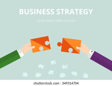 Business Strategy Concept. Hands connecting puzzles, Vector illustration.