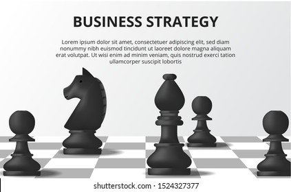 Business strategy concept. Plan tactical for positioning career. black pawn, bishop, horse chess on the chessboard. Solution for success goal target.