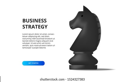 Business strategy concept. Plan tactical for positioning career. black horse chess on the chessboard. Solution for success goal target.