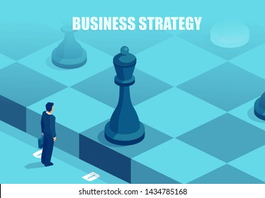 Business strategy concept. Vector of a businessman in front of a chessboard thinking of a next move