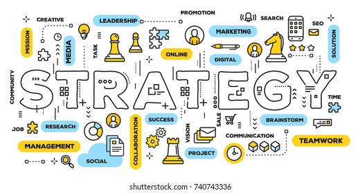 Business strategy concept. Vector creative illustration of strategy word lettering typography with line icons and tag cloud on white background. Thin line art style design for business strategy banner