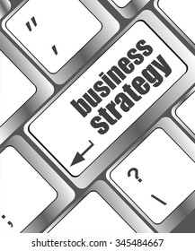 business strategy - business concepts on computer keyboard, business concept vector illustration