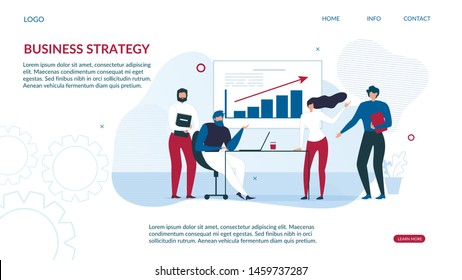 Business Strategy Design Landing Page for Data Analysis. People Interact with Charts and Analyze Statistics. Seo Male Female Analytics Team for Optimization and Development. Vector Flat Illustration