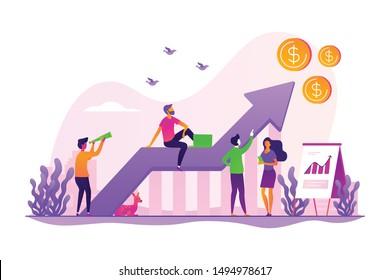 Estrategia empresarial, análisis financiero. Aumento de beneficios. Crecimiento de ventas, gerente de ventas, contabilidad, promoción de ventas y concepto de operaciones. Ilustración creativa de concepto aislado por vectores