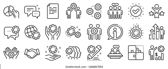 Business strategy, handshake and people collaboration. Employees benefits line icons. Teamwork, social responsibility, people relationship icons. Growth chart, employees benefits. Vector