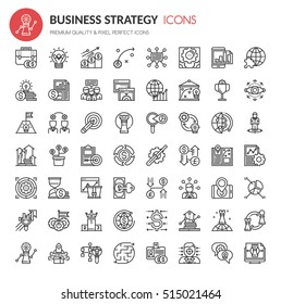 Business Strategy Icons , Thin Line and Pixel Perfect Icons