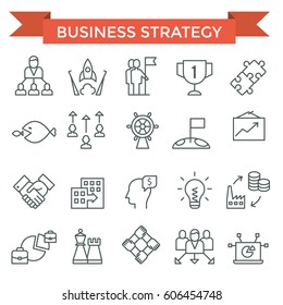 Business strategy icons, thin line, flat design