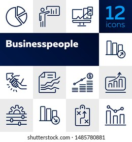 Business strategy line icons set. Set of line icons on white background. Economy concept. Plan, scheme, businessman. Vector illustration can be used for topics like business, economy, strategy
