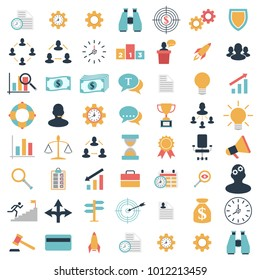 Business, strategy, management and marketing, office, people and human resources colorful flat design icons set. template elements for web and mobile applications. Vector icon set eps 10