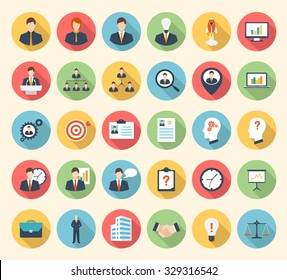Business, strategy, management and marketing, office, people and human resources colorful flat design icons set. template elements for web and mobile applications