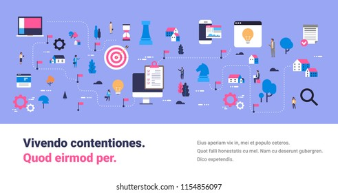 business strategy map successful innovation new ideas concept isometric planning scheme team working process businessperson cartoon character copy space flat horizontal banner vector illustration