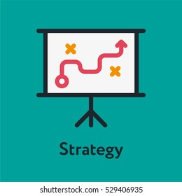 Business Strategy Minimal Color Flat Line Stroke Icon Pictogram Symbol Illustration