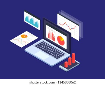 Business strategy and planning concept. Data analysis. Vector 3d isometric illustration.