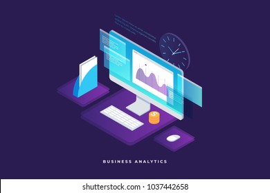 Business strategy and planning. Data and investments. Business success. Computer monitor with infographic elements. Design for presentation, landing page. 3d isometric flat design. Vector illustration