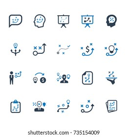 Business Strategy Planning Icons - Blue Version