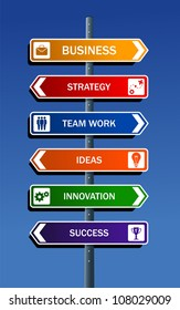 Business strategy road post concepts for success. Vector file layered for easy manipulation and custom coloring.