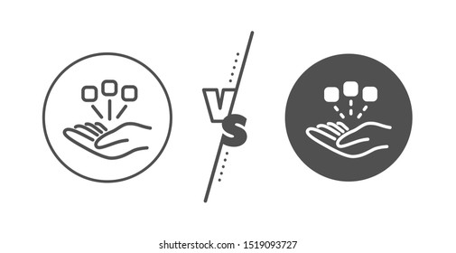 Business strategy sign. Versus concept. Consolidation line icon. Line vs classic consolidation icon. Vector
