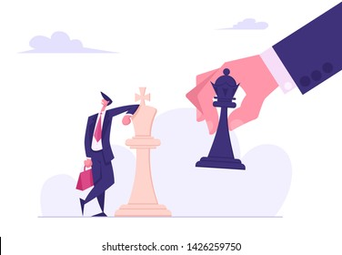 Business Strategy. Strategist Hold in Hand Chess Figure Black King Tilting White King Piece. Victory in Battle. Winning Success. Checkmate or Loss in Business Concept. Cartoon Flat Vector Illustration