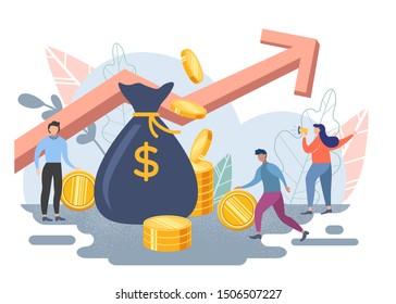 Business strategy, teamwork of people, partnership. Flat design illustration, financial analytics, make money.