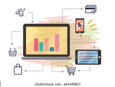 business strategy technology omni-channel platform illustration vector background